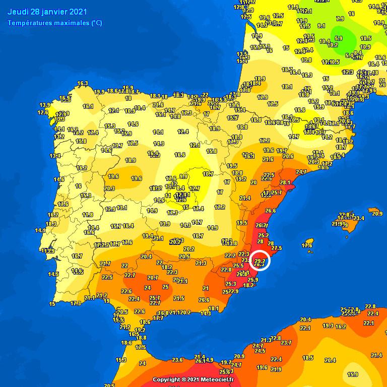 39 éve nem mértek ilyen meleget januárban a spanyoloknál