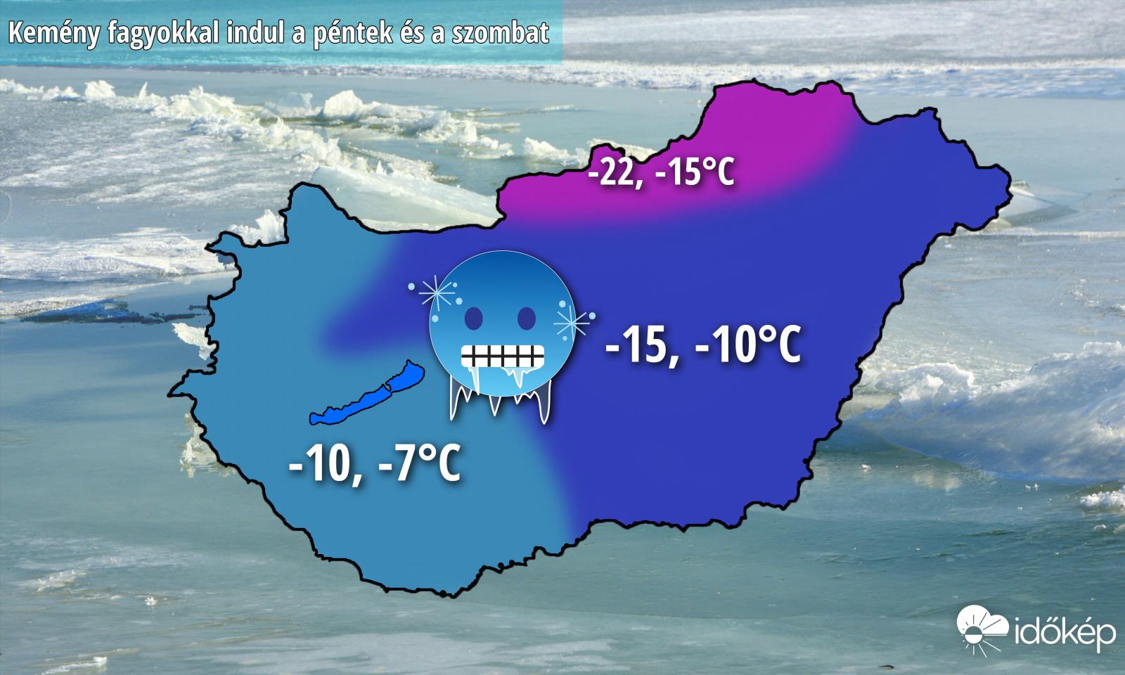 -20 fok is lehet éjjelente a havas északi tájakon